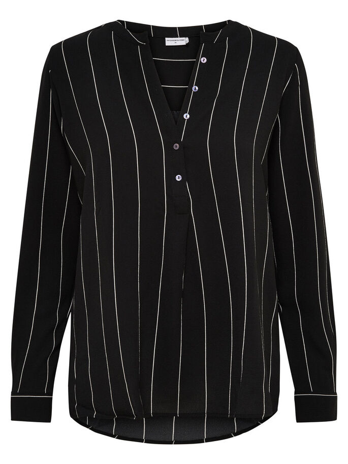 STRIBET TOP MED LANGE ÆRMER, Black, large