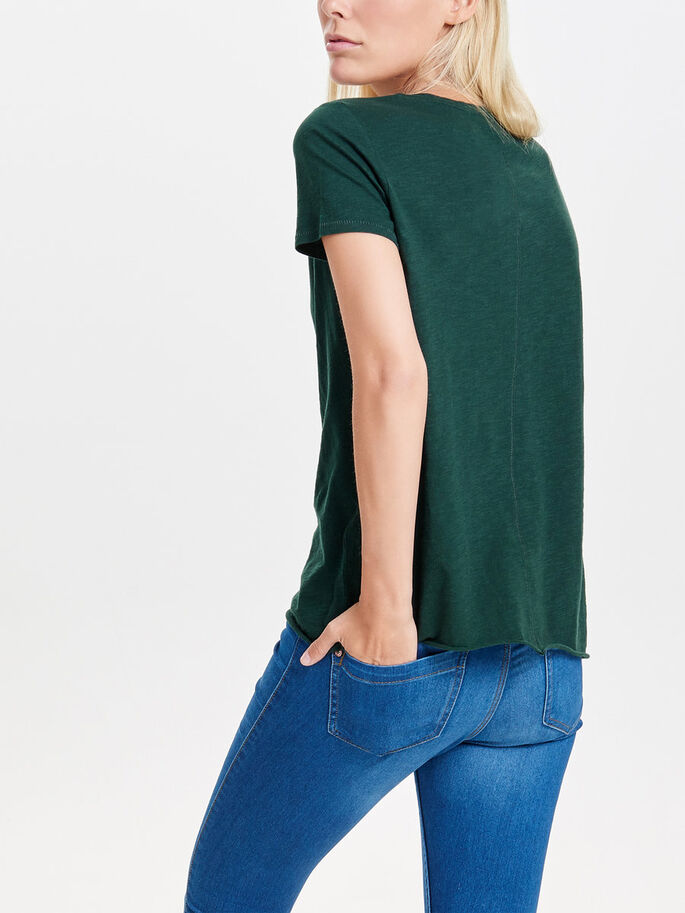 SOLID SHORT SLEEVED TOP, Scarab, large