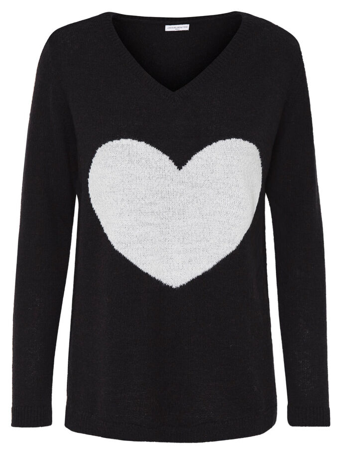 HEART KNITTED PULLOVER, Dark Navy, large