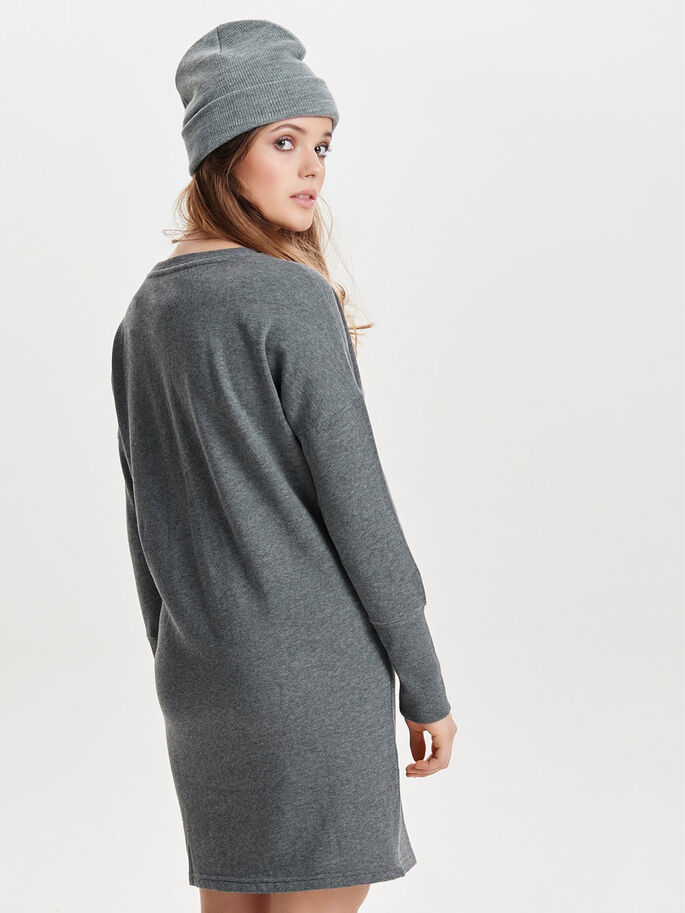 SWEAT JURK, Dark Grey Melange, large