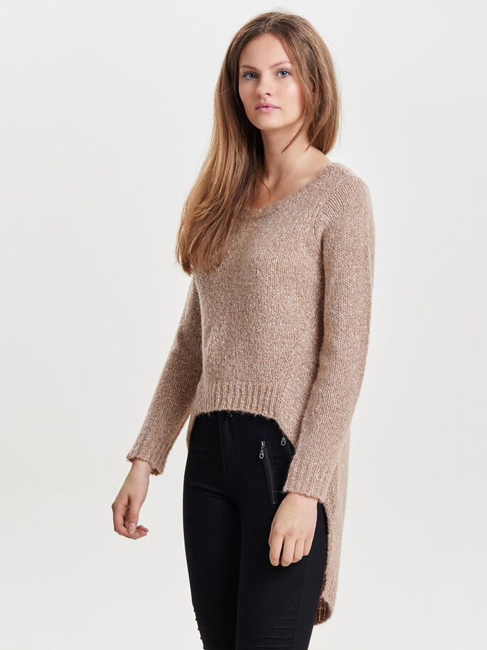 HIGH LOW KNITTED PULLOVER, Warm Taupe, large