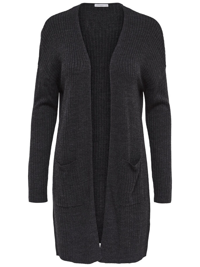 RIPP- STRICK-CARDIGAN, Dark Grey Melange, large