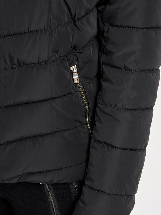 SHORT QUILTED JACKET, Black, large