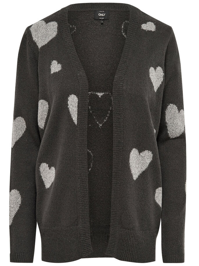 HEARTS KNITTED CARDIGAN, Dark Grey Melange, large