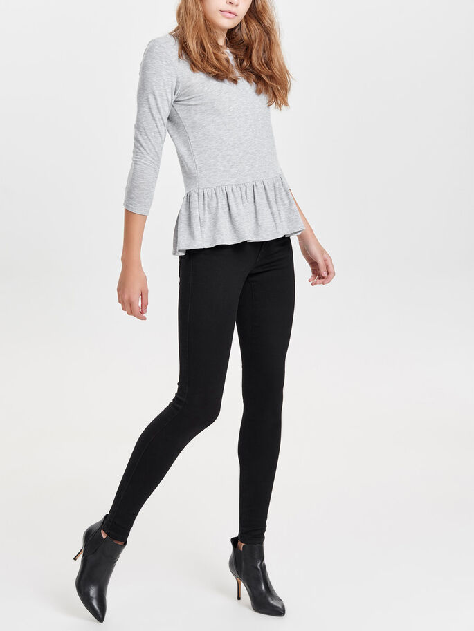 PEPLUM- OBERTEIL MIT 3/4-ÄRMELN, Light Grey Melange, large