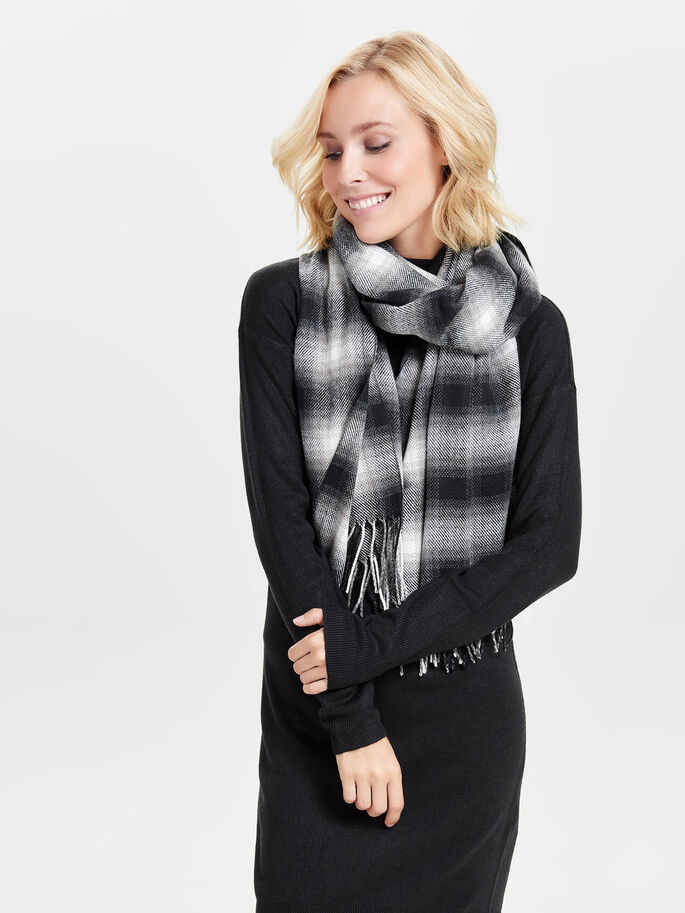 CHECKED SCARF, Whitecap Gray, large