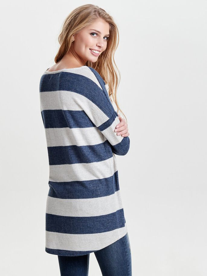 STRIPED KNITTED PULLOVER, Night Sky, large