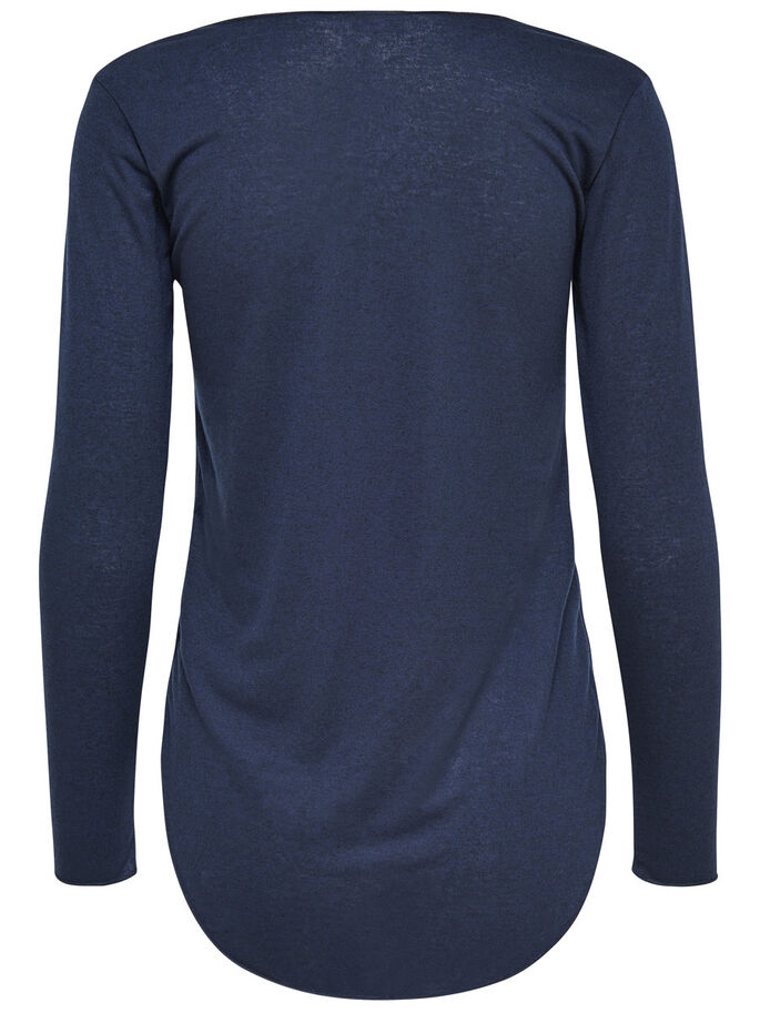 SOLID LONG SLEEVED TOP, Night Sky, large