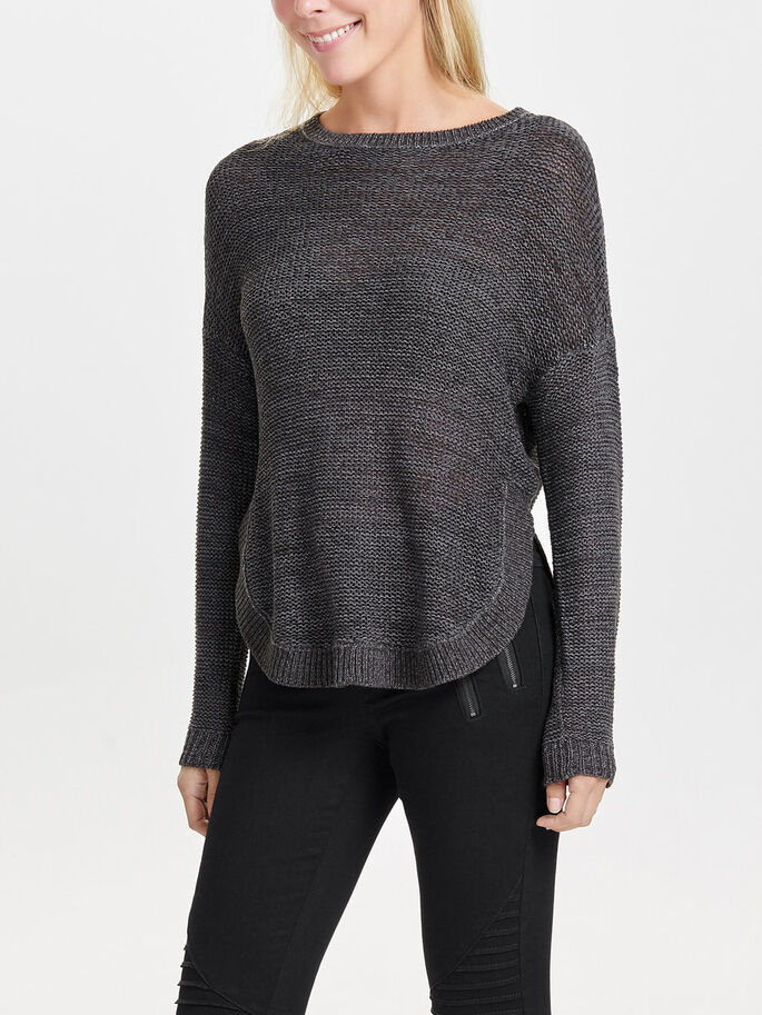 LOOSE KNITTED PULLOVER, Dark Grey Melange, large