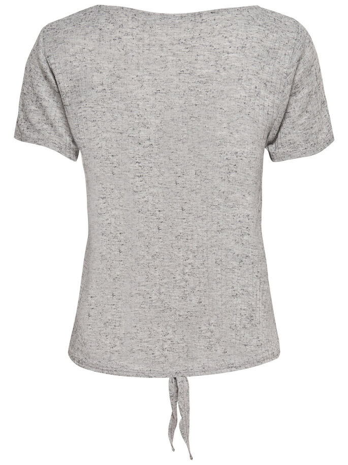 CON NUDO DECORATIVO TOP DE MANGA CORTA, Light Grey Melange, large