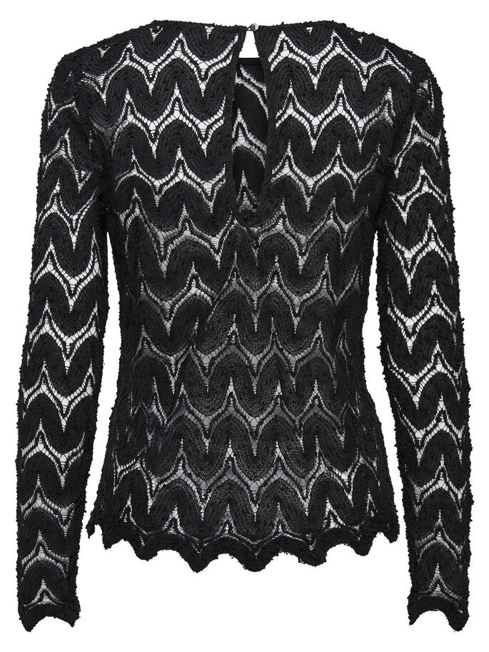 DE ENCAJE TOP DE MANGA LARGA, Black, large
