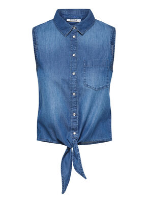 DENIM TIE UP SLEEVELESS SHIRT