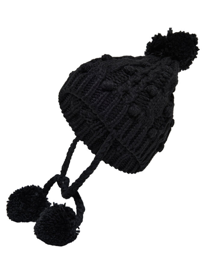 STRIKKET HATT, Black, large
