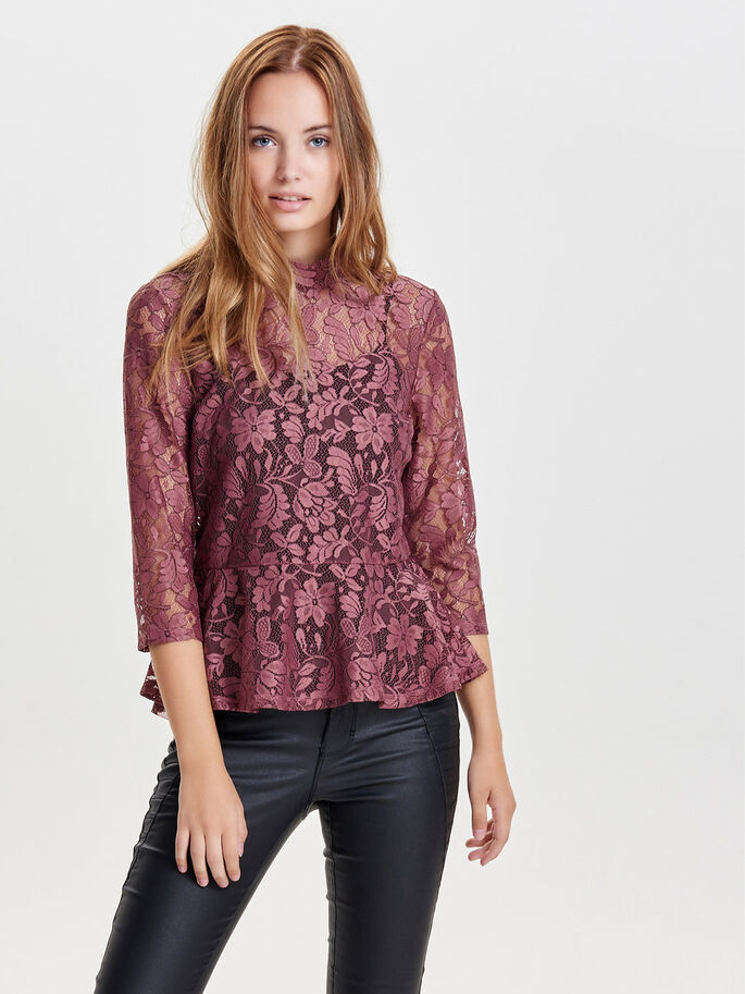 DE ENCAJE BLUSA CON MANGAS 3/4, Withered Rose, large