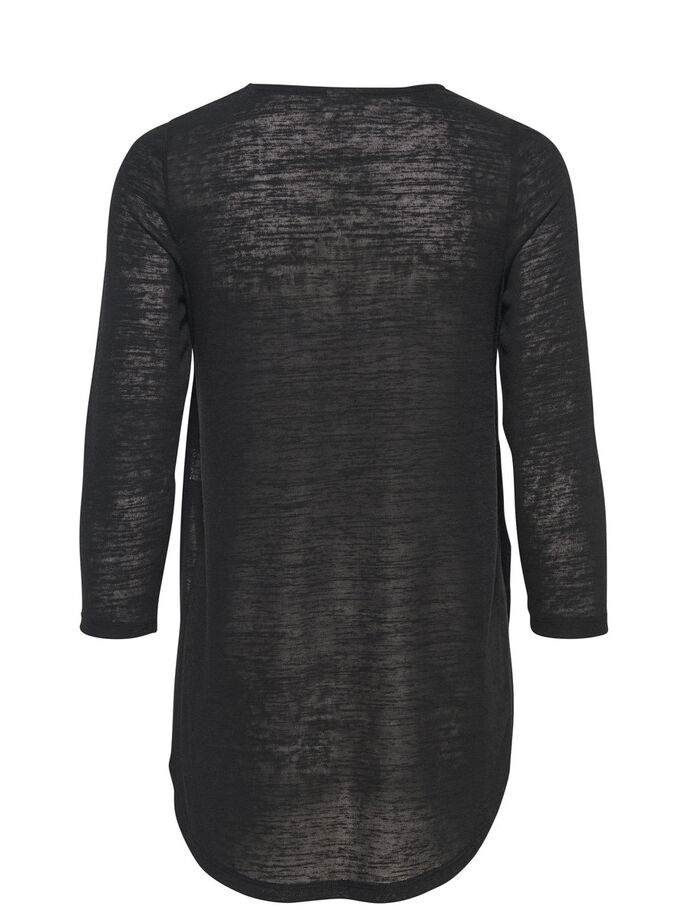 HIGH-LOW 3/4 SLEEVED TOP, Black, large