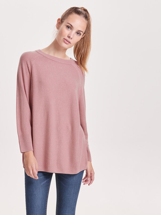 LOOSE KNITTED TOP, Woodrose, large