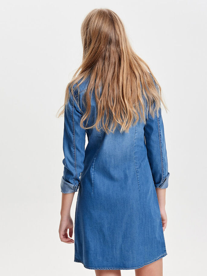 LANGÆRMET DENIMKJOLE, Medium Blue Denim, large