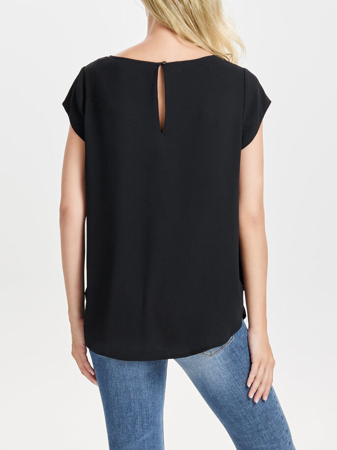 SOLID SHORT SLEEVED TOP, Black, large