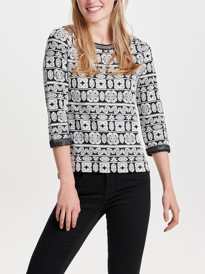 PATTERNED 3/4 SLEEVED TOP, Black, large