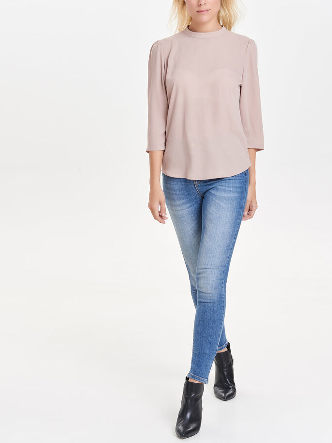LACE-BACK 3/4 SLEEVED TOP, Warm Taupe, large