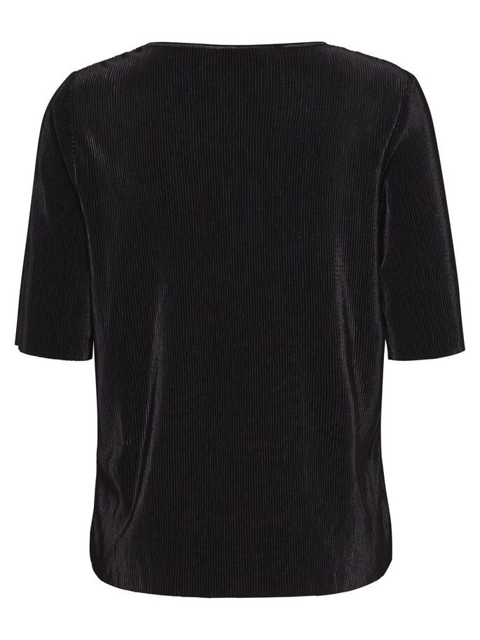 PLEATED 2/4 SLEEVED BLOUSE, Black, large