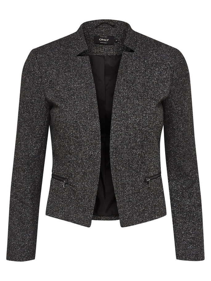 KURZER BLAZER, Dark Grey Melange, large