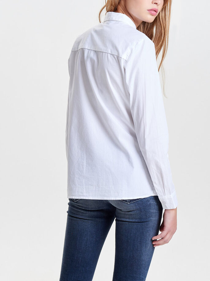 SOLID LONG SLEEVED SHIRT, Bright White, large