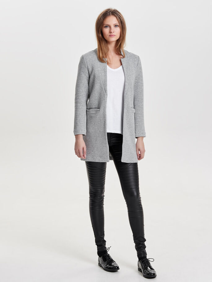 DOUX BLAZER, Light Grey Melange, large