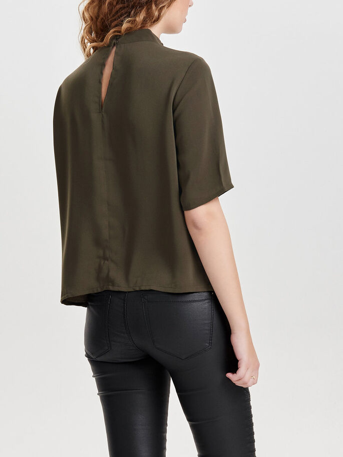HIGH NECK 2/4 SLEEVED BLOUSE, Wren, large