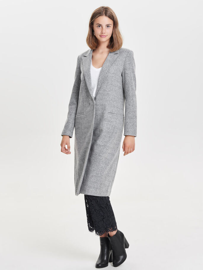 WOOL COAT, Light Grey Melange, large