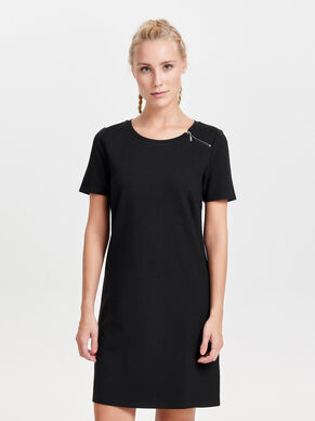 ZIP DETAILED SHORT SLEEVED DRESS