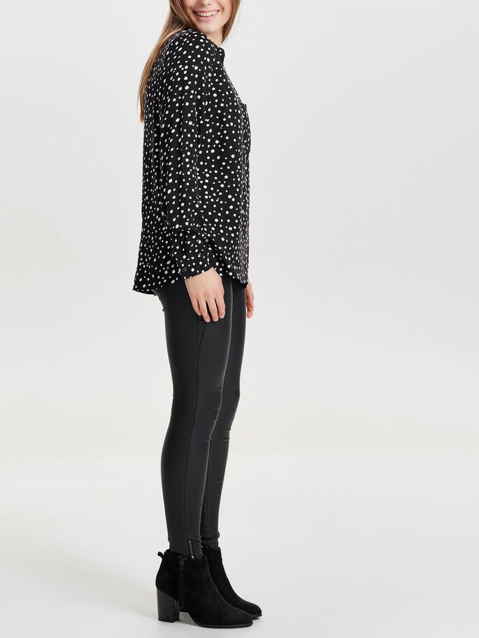 PRINTED LONG SLEEVED SHIRT, Black, large