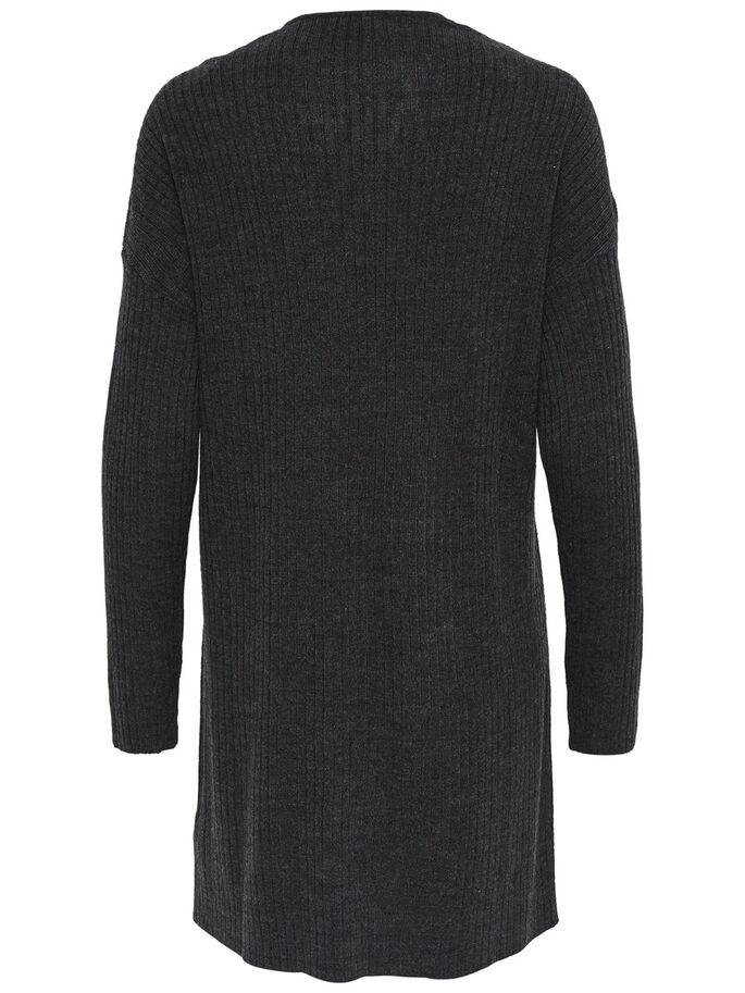 RIB KNITTED CARDIGAN, Dark Grey Melange, large