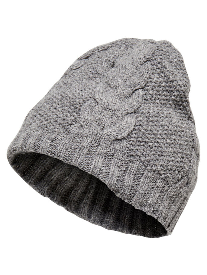 STRIKKET HATT, Light Grey Melange, large