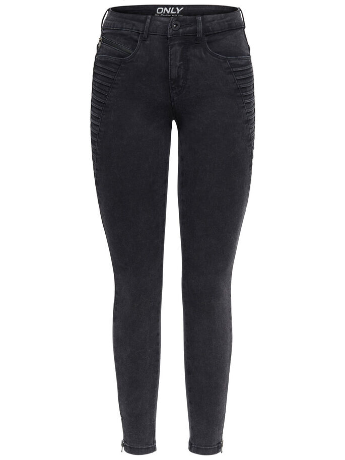 ROYAL ZIP ANKLE SKINNY FIT JEANS, Black Denim, large