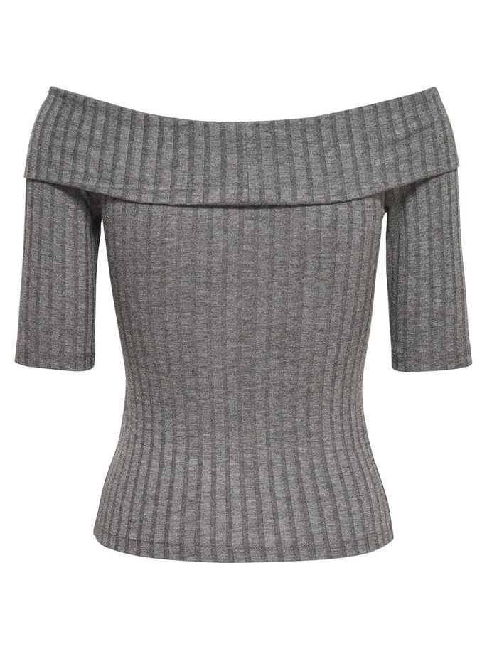 STRIBET BLUSE MED 2/4-ÆRMER, Dark Grey Melange, large