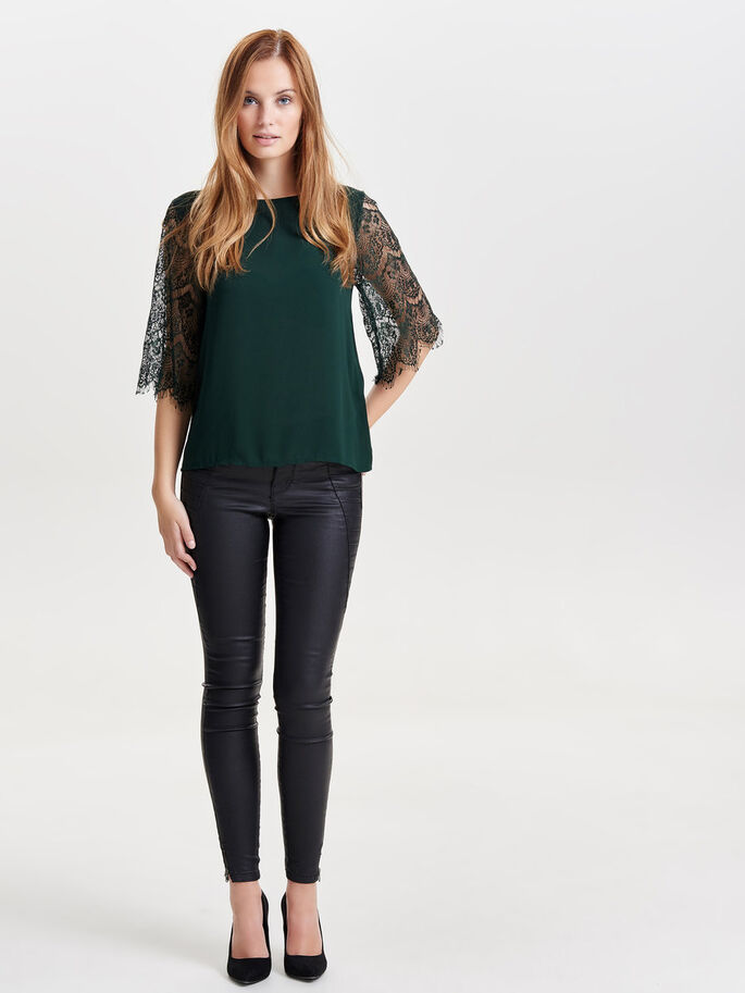 LACE 2/4 SLEEVED BLOUSE, Scarab, large