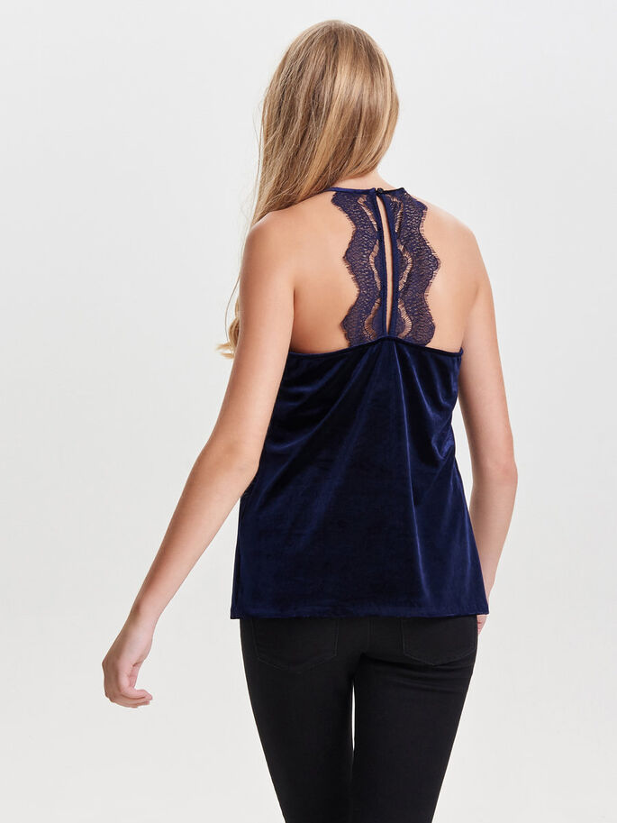 VELVET SLEEVELESS TOP, Night Sky, large