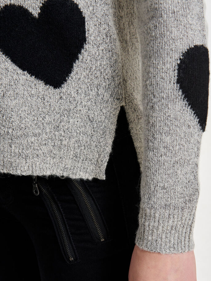 HEART KNITTED PULLOVER, Pumice Stone, large