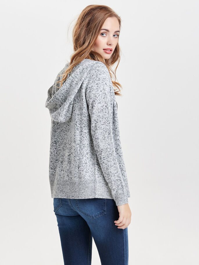 LOOSE KNITTED CARDIGAN, Cloud Dancer, large