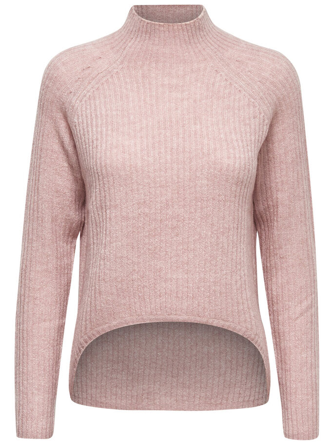 HIGH NECK KNITTED PULLOVER, Adobe Rose, large