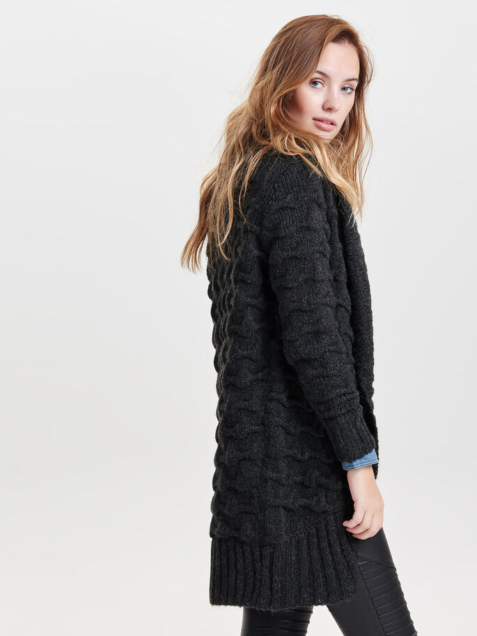LONG CARDIGAN EN MAILLE, Black, large