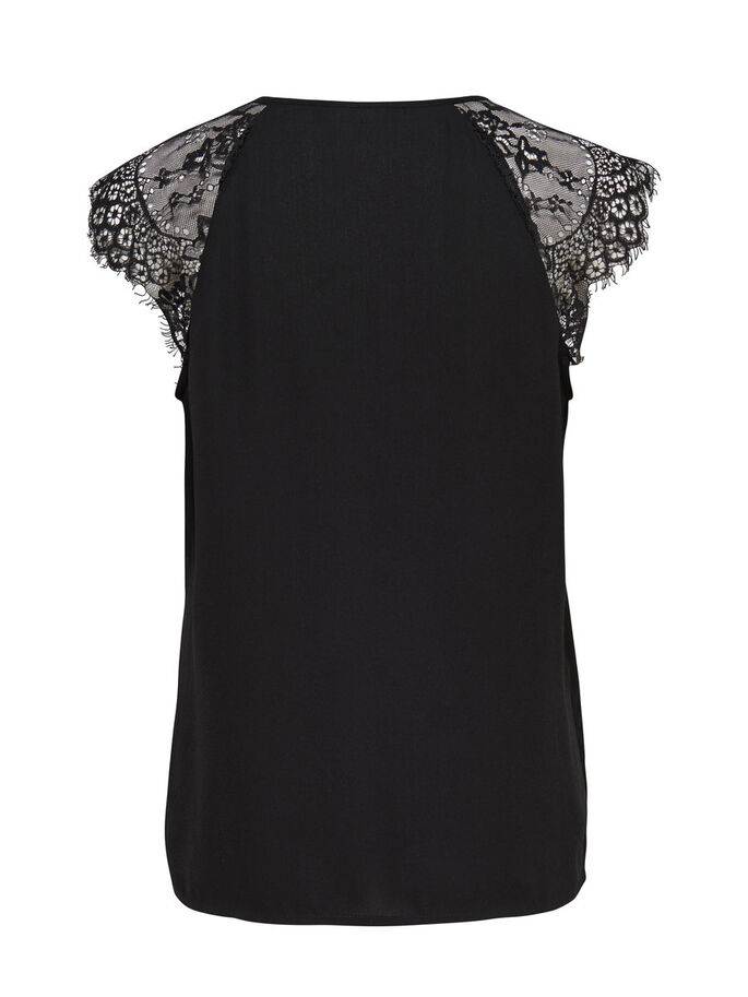 LACE SHORT SLEEVED TOP, Black, large