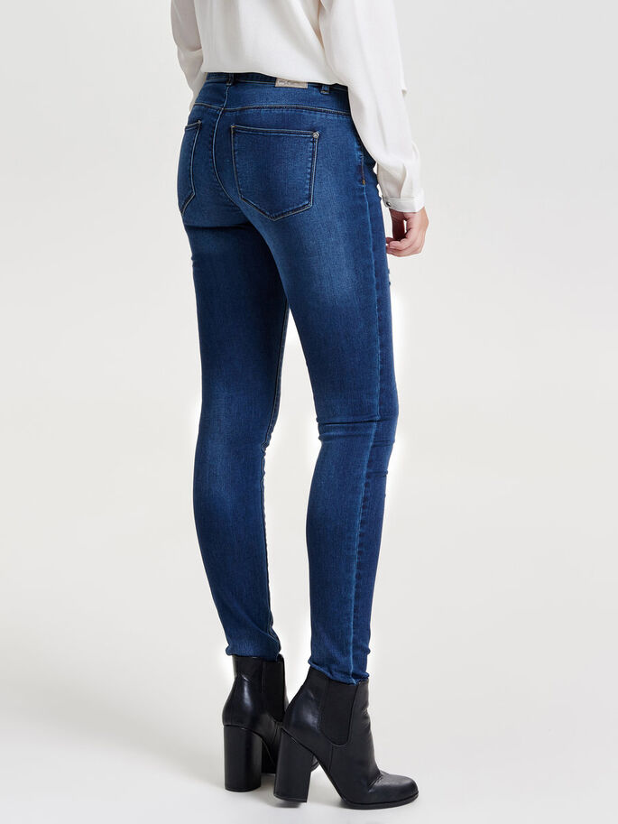 CARMEN NORMALHÖGA SKINNY FIT-JEANS, Dark Blue Denim, large