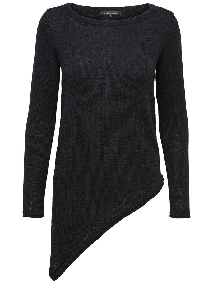 ASYMMETRICAL KNITTED PULLOVER, Black, large
