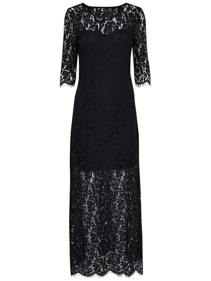 LACE MAXI DRESS, Black, large