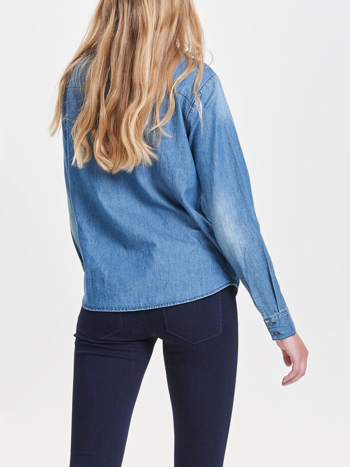 BOW DENIM SHIRT, Medium Blue Denim, large