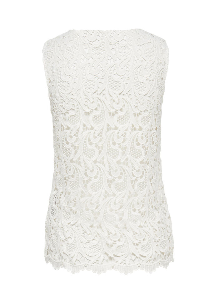 LACE SLEEVELESS TOP, Cloud Dancer, large