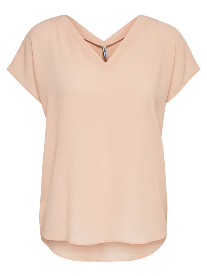 LOOSE SHORT SLEEVED TOP, Peachy Keen, large