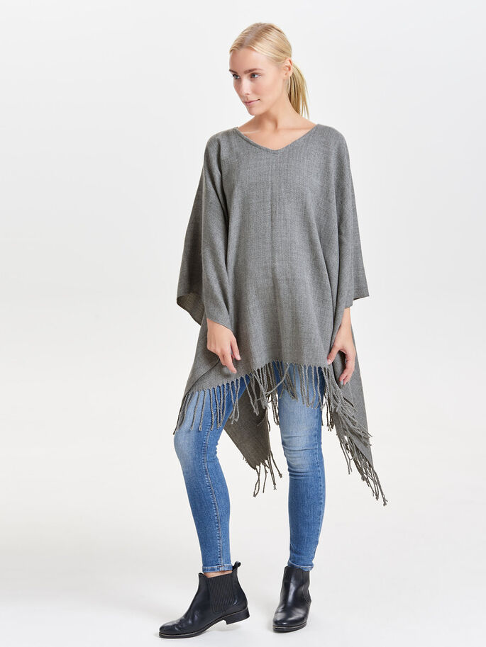 SOLID PONCHO, Light Grey Melange, large